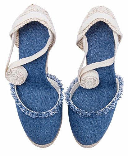 Denim Clásico Sandalias De Denimblue Verano Tiras Para Tacón Mezclilla Cordones Alpargatas Con Mujer Cuña vnqXqgpx