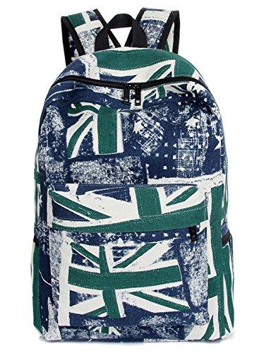 Greeniris mujer lona mochila viajar vendimia colegio mochila para niña Azul verde