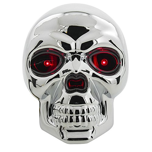 (Bully CR-018 Chrome Skull Emblem LED Light Trailer Tow Hitch Receiver Cover with Plug In LED Brake Lights for Chevy, Dodge, GMC, Ford, Toyota, and Others)