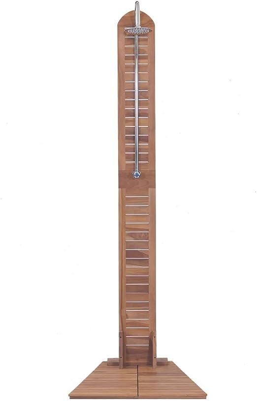 Cikonielf Ducha de Madera con Cabeza de Ducha, Ducha Exterior para Jardines y Piscinas 70 x 75 x 204 cm: Amazon.es: Jardín
