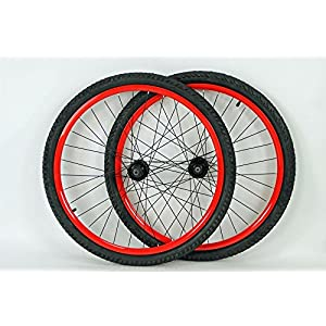26 inch Mountain Bike Bicycle Wheels for Disc or Rim Brakes with Kenda Kobra 26 X 2.0 Tires and Tubes (Hot Red)