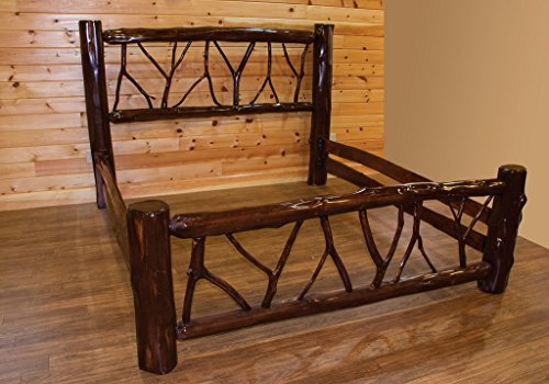 Live Edge Rustic Red Cedar Log Twig Bed - Amish Made in the USA - Twin (Twig Log Bed)