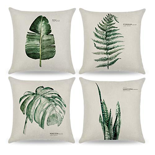 CARRIE HOME Green Plant Pillow Covers 18x18 Leaf Outdoor Throw Pillow Covers for Couch Sofa and Patio, Set of 4