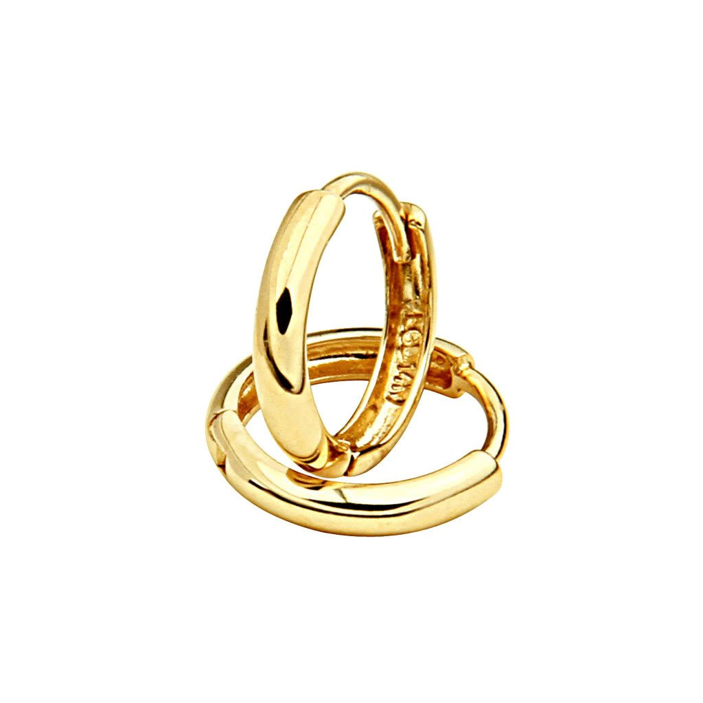 14k Yellow Gold 2mm Thickness Huggies Earrings (10 x 10 mm)