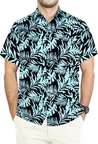 LA LEELA Men's Tropical Hawaiian Shirt Regular Fit Short Sleeve L Black_Aa171