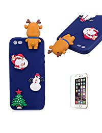 Cute Cartoon Case For iPhone 5/iPhone 5S/iPhone SE,Funyee Stylish 3D Christmas Deer Design Ultra Thin Soft TPU Silicone Case for iPhone 5/iPhone 5S/iPhone SE,Anti-scratch Rubber Durable Shell Smart Phone Case with Free Screen Protector,Blue