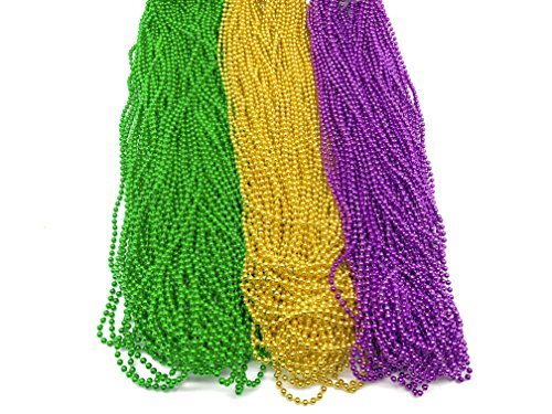 GIFTEXPRESS 144pc Mardi Gras Beads Bulk 4mm beads Mardi Gras Throws (Mardi Gras Throw Beads)