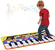 Cyiecw Piano Music Mat, Keyboard Play Mat Music Dance Mat with 19 Keys Piano Mat, 8 Selectable Musical Instrum