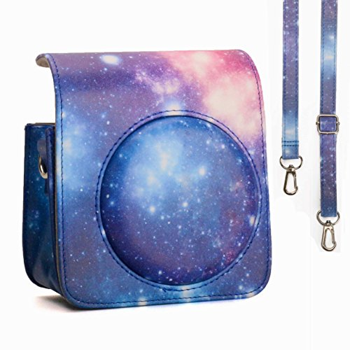 CAIUL Compatible Comprehensive Protection Case Bag with Soft PU Leather Material for Fujifilm Instax Mini 90 Neo Classic Instant Film Camera (Galaxy)