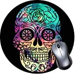 Gaming Mouse Pad, Round Mouse Mat, Non-Slip Rubber Base Desktop Mousepad with Stitched Edge, Small Size 7.9 x 7.9 x 0.1 Inch-Skull Galaxy