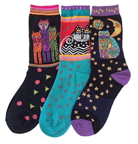 laurel-burch-womens-crew-socks-3-pair-cats-leopards