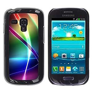 FECELL CITY // Duro Aluminio Pegatina PC Caso decorativo Funda Carcasa de Protección para Samsung Galaxy S3 MINI NOT REGULAR! I8190 I8190N // Iridescent Rainbow Pattern