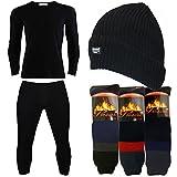 Mens 6 Piece Thermal Set 4.7 TOG Beanie Hat & Long Sleeve Thermal Underwear Black, Ski Socks Gift Set