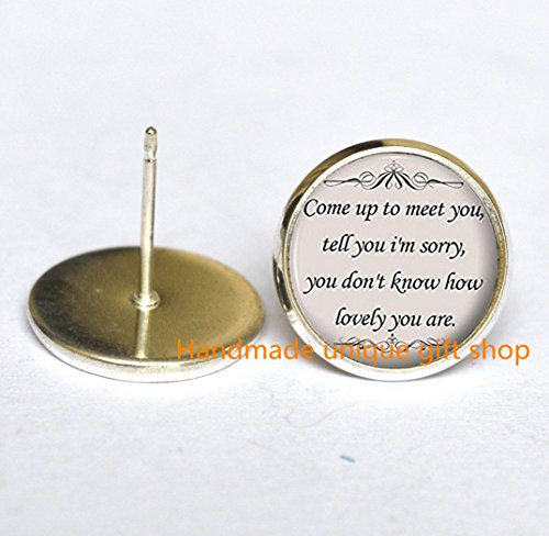 Dainty Earrings, Simple Earrings,Song Lyrics Quote - Romantic Music Earrings - Silver Cute Jewelry Gift for Women and Girls-RC056 ()