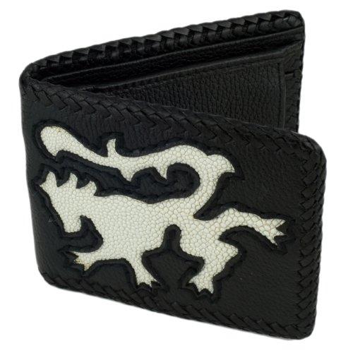 (Leather Bifold Wallet, Black w/ White Stingray Leather Lion Inlay)
