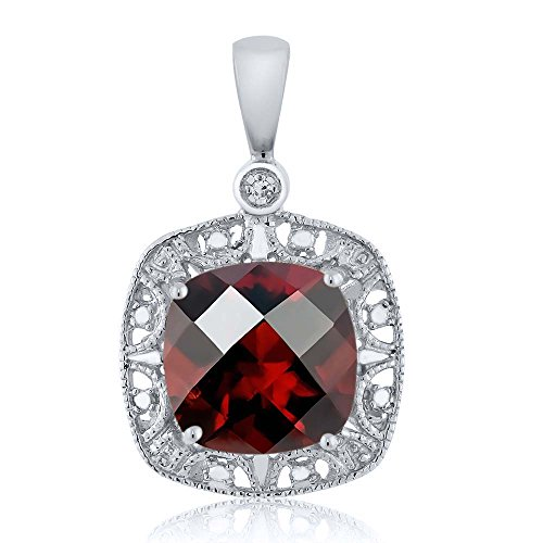 Gem Stone King 10K White Gold Women's 8mm Cushion Checkerboard Red Garnet and Diamond Accent Necklace 2.4 cttw