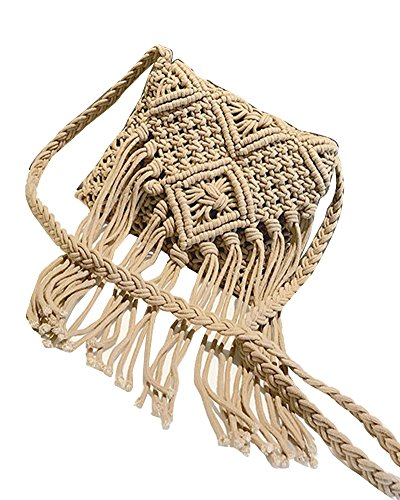 Negro Borla Messenger Playa Bolso Paja Elegante De Tejer Crossbody Bolsa Estilo Mujer Bolso Caqui Bag Bandolera xnw61qY8OB