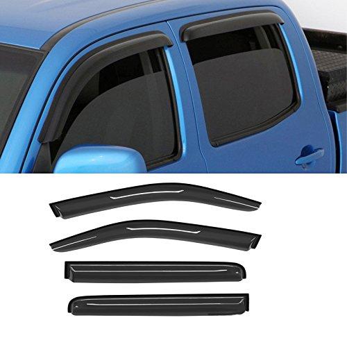 CDG 4PCS Premium Sun Rain Guards Deflectors for 2005-2016 Nissan Frontier Crew Cab Vent Shade Weather Shields Window Visors (Outside-Mount Style &Dark Smoke Tint)