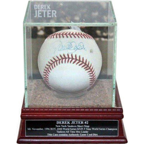 Derek Jeter Record - MLB New York Yankees Derek Jeter Jump Throw Background Glass Single Baseball Case with Yankee Stadium Authentic Dirt and Nameplate