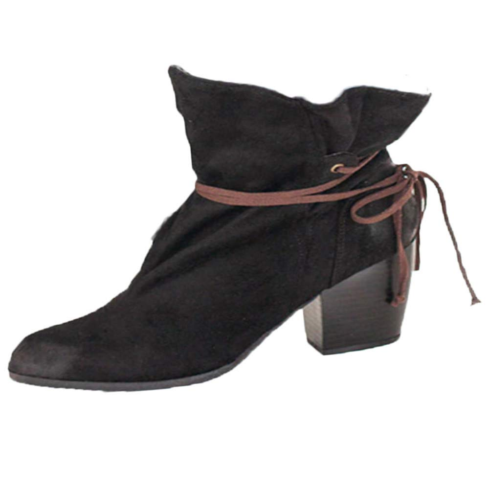 Londony ♪✿ Clearance Sales,Fashion Boots for Women,Women's Non-Slip Cowboy Block Heel Lace Up Ankle Booties by Londony