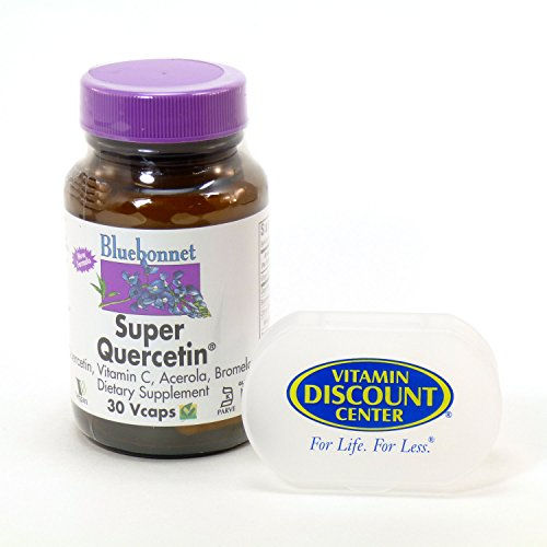 Bundle - 2 Items: 1 Bottle of Super Quercetin By Bluebonnet - 30 Vegetarian Capsules and 1 VDC Pill Box (Super Bluebonnet Quercetin)