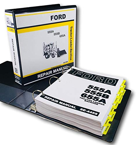 Ford 555A 555B 655A Tractor Loader Backhoe Service Repair Manual in Shop Binder