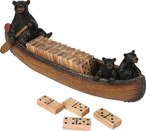 River's Edge Canoe with Bears Domino Set - Bear Canoe