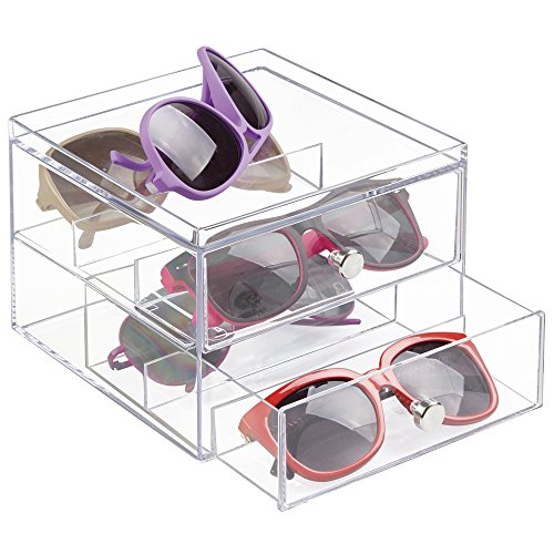mDesign Stackable Eyeglass Organizer Holder for Sunglasses, Eyeglasses, Reading Glasses - 2 Divided Drawers, - Storage Eyeglass Drawer