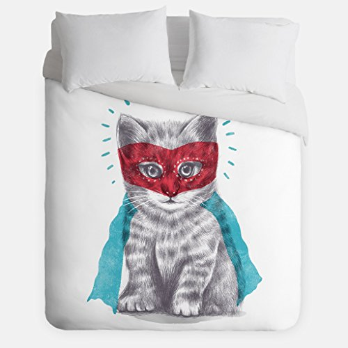 Super Cat Duvet Cover/Kitty Bedroom Decor/Made in USA/Great Bedroom Artwork