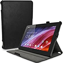"iGadgitz Premium Executive Black PU Leather Case Cover for Asus Transformer Pad TF103C 10.1"" with Multi-Angle Viewing Stand + Auto Sleep/Wake + Hand Strap + Stylus Pen Elastic Holder + Screen Protector"