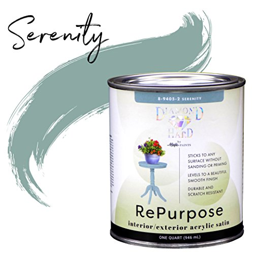 Majic Paints 8-9405-2 Diamond Hard Interior/Exterior Satin Paint, RePurpose your Furniture, Cabinets, Glass, Metal, Tile, Wood and More, Serenity, 1-Quart