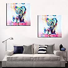 MOHOO 50x50cm Watercolor Elephant Oil Colorful Modern Abstract Art Painting Artwork Canvas Painted Office Home Wall Decor