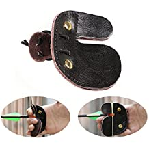 Huntingdoor Shooting Finger Tab Cowhide Leather Archery Finger Guard Double-layer Finger Protector for Right Hand