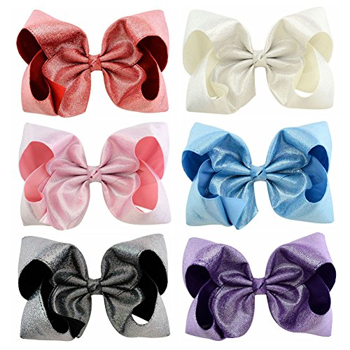 6 pcs/lot 8 Large Rainbow Leather Bows With Hair Clips For Kids Girls Colourful Bows (851-00-06)