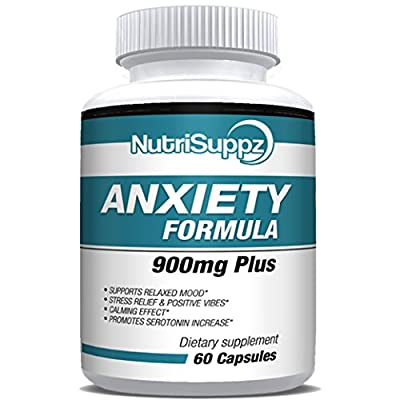 Anti Anxiety Formula 900mg With Gaba, L-Theanine, 5-HTP, Ashwagandha, Magnesium Oxide, Chamomile - Positive Mood, Relaxed Mind, Promote Higher Serotonin, Live In Peace & Happiness
