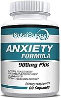 Anti Anxiety Formula 900mg With Gaba, L-Theanine, 5-HTP, Ashwagandha, Magnesium, St. John's Wort, Chamomile - Positive...
