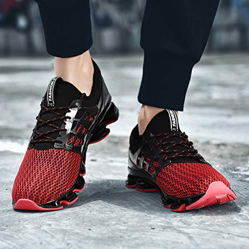 Lloopyting Couples Solid Color Casual Mesh Breathable Wear Running Shoes Outdoor Fashion Wild Mesh Sneakers Red by Lloopyting (Image #4)