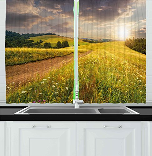 Ambesonne Nature Kitchen Curtains, Sunset on The Meadow Rural Country Flower Field and Trees Idyllic Scene, Window Drapes 2 Panels Set for Kitchen Cafe, 55W X 39L Inches, Lime Green Light Brown