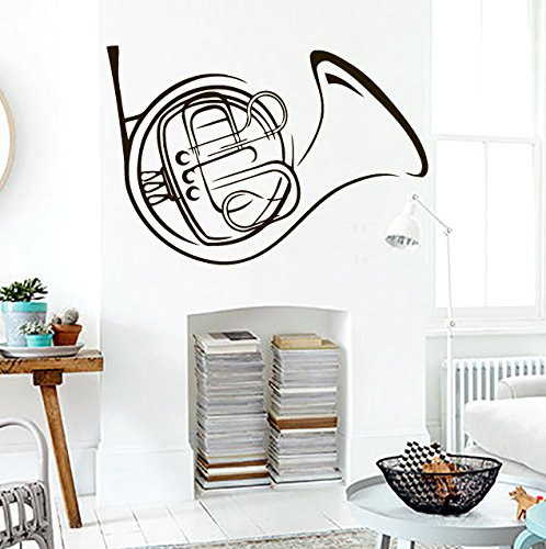 Horn Girl Instruments (Wall Vinyl Decal Sticker French Horn Musical Instrument Art Design Nursery Room Nice Picture Decor Hall Wall Ki430)