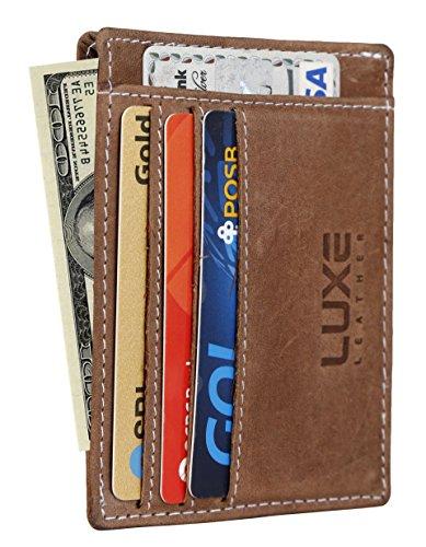 Luxe Leather Front Pocket Slim Minimalist Wallet for Men & Women – New & Secured RFID Blocking Design (LX002 Hunter) (Ladies Wallet Leather Usa Genuine)