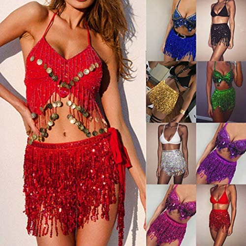 Paillettes Sexy Club Ventre Femme Tassel Costume Robe Robe Rouge Wrap Mini mioim Skirt New Danseur aqCwfxt