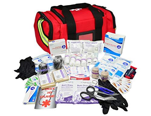 (Lightning X Value Compact Medic First Responder EMS/EMT Stocked Trauma Bag w/Basic Fill Kit A - RED)