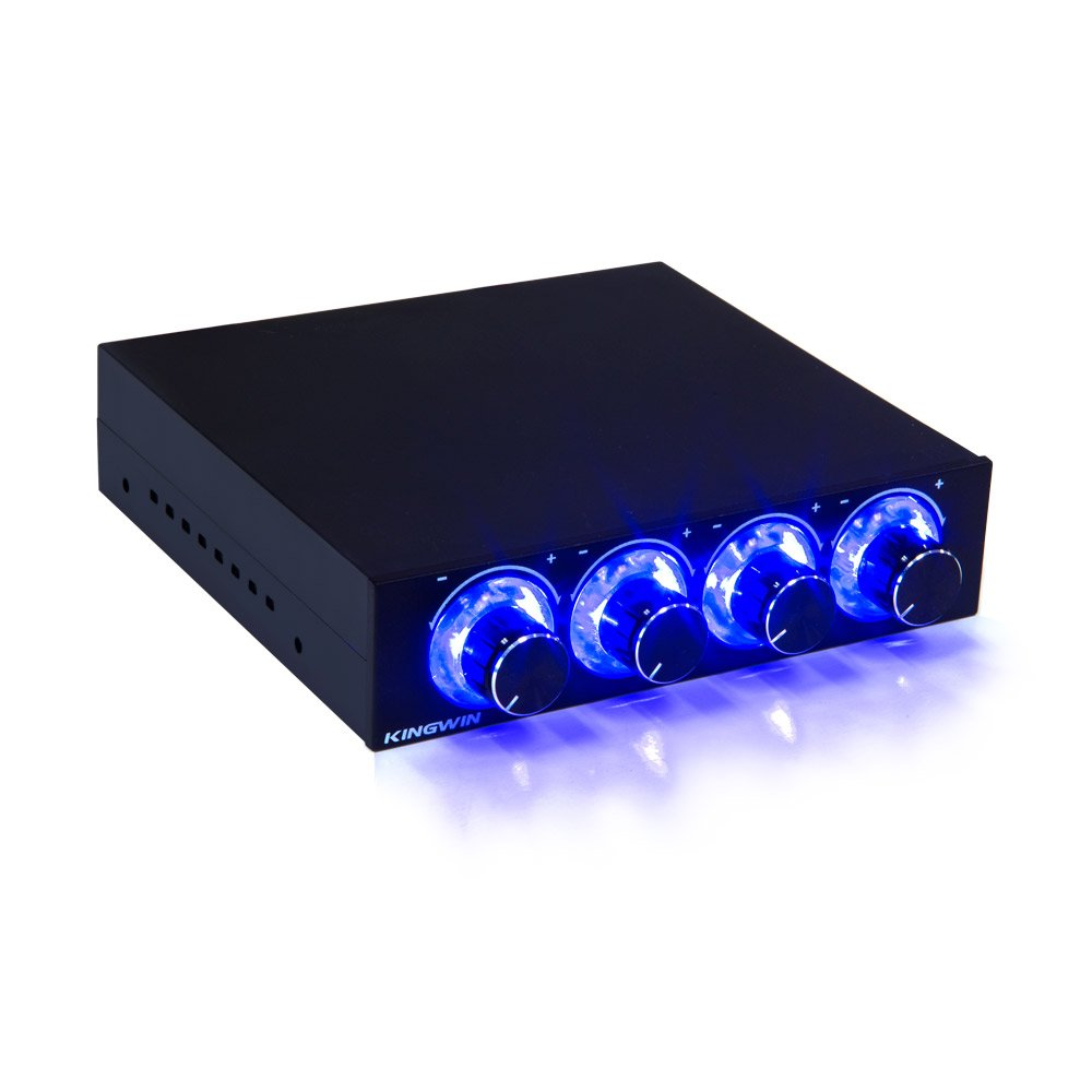 Kingwin FPX-001 Fan Controller 4 Channel w/ LED. Controls up to 4 Sets of PC Computer Fans, Independent Turn Knob Control, and Fits 3.5 Inch Drive Bay. Easy Setup, and Easy Control of Your Cooling Fans