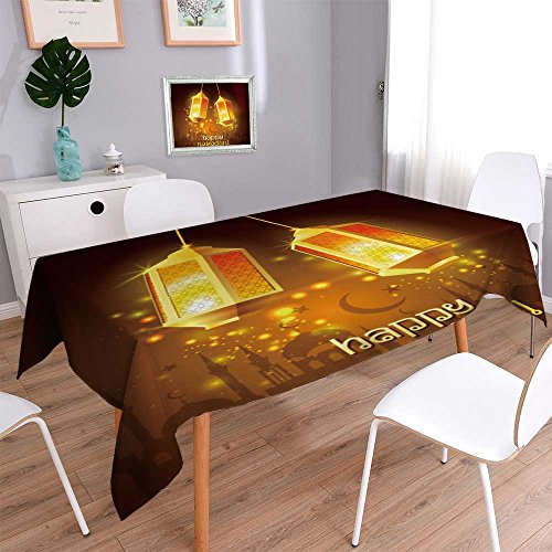 Philiphome Rectangular Polyester Ramadan Kareem Islamic Background Lamps for Ramadan Linen Cotton Tablecloths for Kitchen Room 70''x70'' by Philiphome