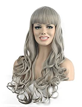 peluca sintética de color gris onda Popular natural a largo para la mujer , grey