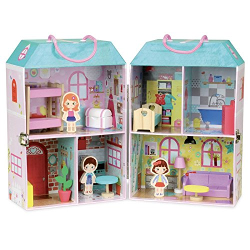 Vilac Doll House with 13 Wooden Accessories