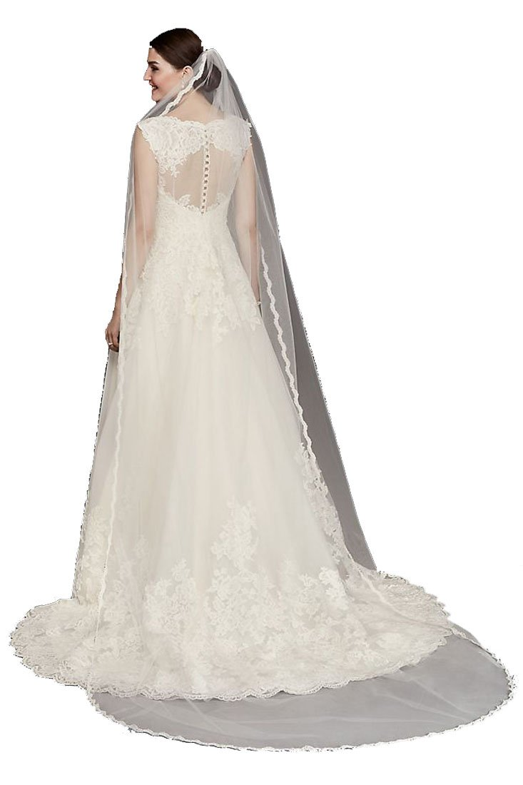 Passat Diamond White Single-Tier 3M Cathedral Crystals Bridal Veil with Lace Edging DB88 by Passat