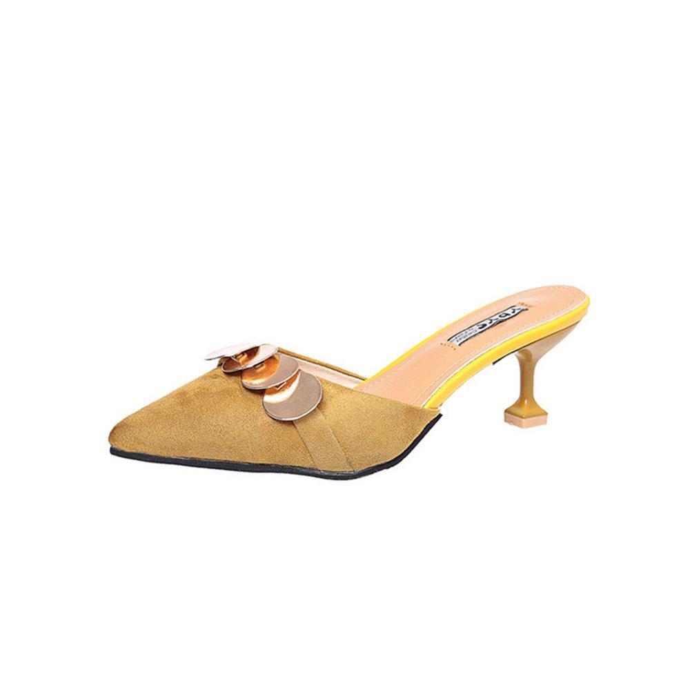 Pointed Toe Bow Kitten Heel Mule Pump Slip on Slide Shoes B07DN6SPCT 38/7.5 B(M) US Women|Yellow-2