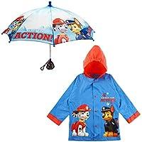 Nickelodeon Little Boys Paw Patrol Character Slicker and Umbrella Rainwear Set, Age 2-7