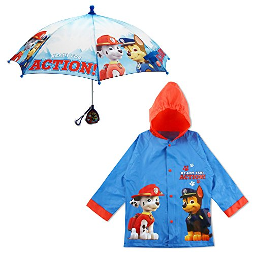 Nickelodeon Boys' Little Paw Patrol Character Slicker and Umbrella Rainwear Set, Blue, Age 2-3